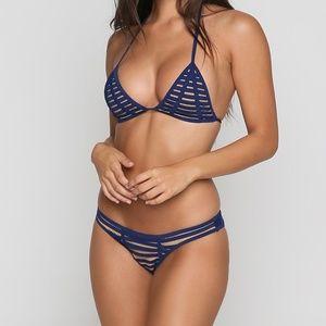 NWT Beach Bunny Hard Summer Navy Blue Bikini Set